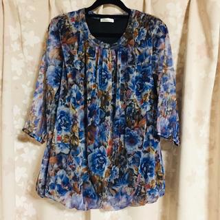 ♪ 花柄 バルーン 七分袖トップス Lサイズ