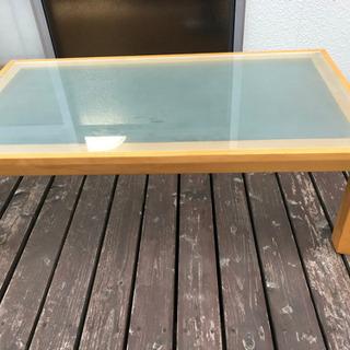 【中古】ガラステーブル ローテブル 座卓 ちゃぶ台