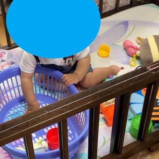 【無料】木製ベビーベッド(中古)大きくなったお子さんのサークル代...