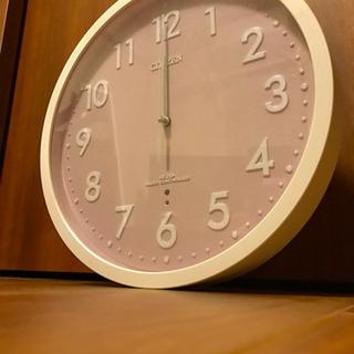 CITIZEN掛け時計 ピンク 電波時計
