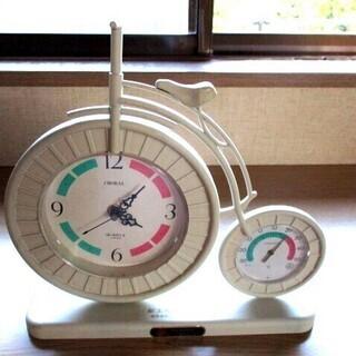 インテリアにも!置き時計 自転車型 時計・温度計 新品未使用品
