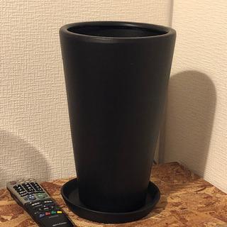 受け皿付き!観葉植物 プランター ブラック 黒 おしゃれ 深型 花瓶