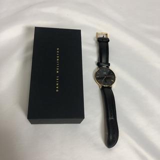 ダニエルウェリントン  ブラック レザー 腕時計