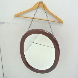 カリモク 木製フレーム 壁掛け鏡 ウォールミラー オーバルミラー...