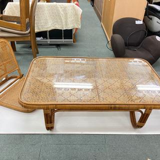 【目玉商品‼️】籐・ラタンの座卓 ローテーブル と椅子のセット