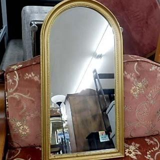 壁掛け鏡 アンティーク調ウォールミラー ゲート形 金縁 札幌市西区