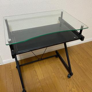 ガラス パソコンラック 2段収納