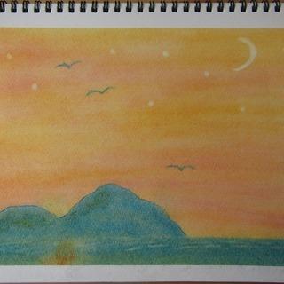 ゆるりと3色パステル画教室で描く、海に浮かぶ島又は、夏の木。
