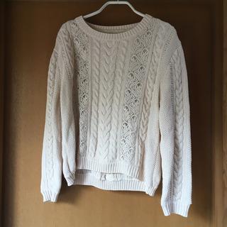 【ほぼ新品】透かしレース模様の春秋向けセーター