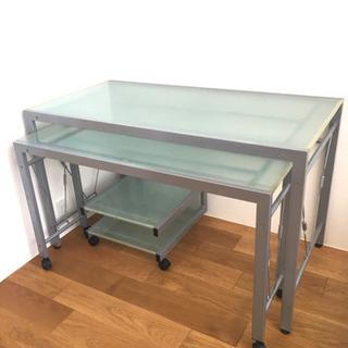ガラス天板のスチール製PCデスク サブデスク&プリンタ用棚付