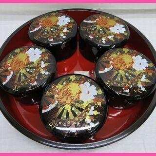 未使用 寿司桶丼6点セット ちらし寿司 華やぐ絵柄のユリア樹脂