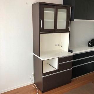 ニトリ 食器棚 キッチンボード ウォールナット調 ダークブラウン