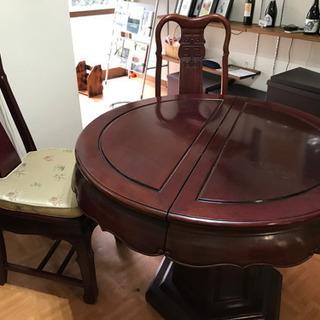 中華ダイニングテーブルセット ローズウッド