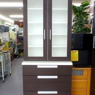 食器棚 キッチンボード 高200 幅70 ブラウン×白 収…