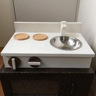 ミニおままごとキッチン ハンドメイド 木製 白