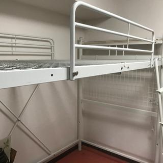 ロフトベッド 2段ベッド はしご付き パイプ パイプベッド セミ...