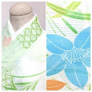 ◇美品 夏絽 小紋 化繊◇ 花模様 身丈160 裄64.5 (黄緑)