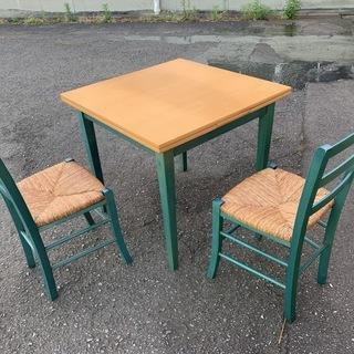 アンティーク ダイニングテーブル3点セット 伸縮式テーブル + ...