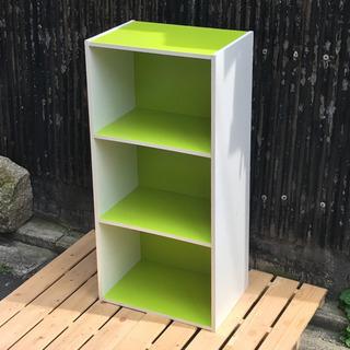 3段カラーボックス  グリーン