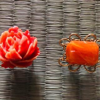 珊瑚とめのう?帯留◆2個セット