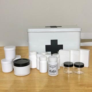 救急箱 薬ケース セット 白黒 モノトーン 詰め替え 詰替容器