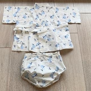 【値下げ】子供用の浴衣80cm/甚平トンボ柄