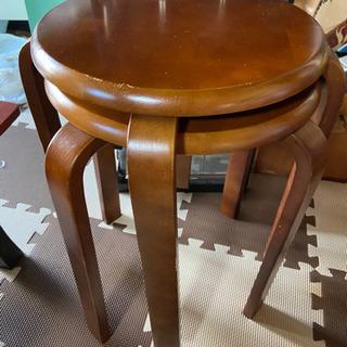 木製丸椅子  2個セット