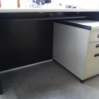 事務机(天板グレー)+キャビネット(引き出:3段付)< 無料です >