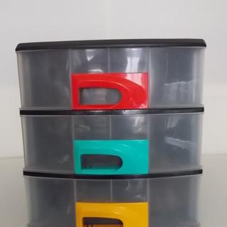 ポリプロピレン製 引き出し収納ボックス3段② 文房具.デスク小物...