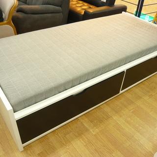 収納付きベッド IKEA FLAXA 引出し2杯 マットレス付き...