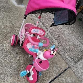 ミニーマウス三輪車 サンシェード&カゴ付き