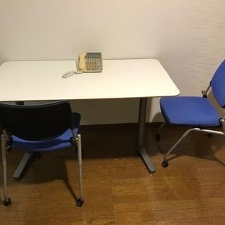 【中古】オフィス机、椅子×2のセット