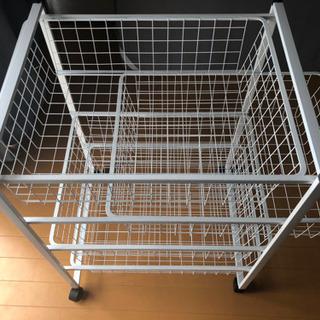 【中古】IKEA フレームワイヤーバスケット付き4段