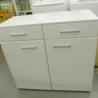 食器棚 白エナメル キッチンボード サイドボード ミドルサイズ ...