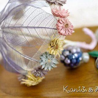 あめふり♥季節のプレートアレンジ♥お花の傘とかたつむりの折り紙