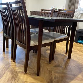 (引取先決まりました)ダイニングテーブル 椅子4脚セット 中古 ...