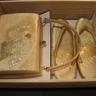 和装 バッグと草履のセット 金色