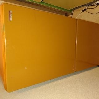 2ドア冷蔵庫 オレンジ色 110L
