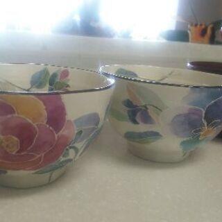 最終値下げ 夫婦茶碗+汁物茶碗セット+グラス2つ