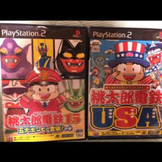 桃太郎電鉄 15と桃太郎電鉄USAの2本 PS2 中古 美品