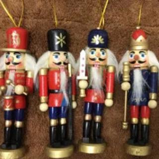 置物 オーナメント くるみ割り人形 兵隊 ミニサイズ 木製 6体セット
