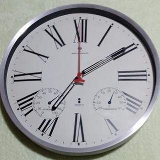 【壁掛け 電波時計】温度計付き 直径:約30cm