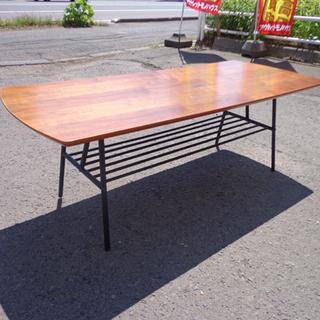 南12条店 テーブル 幅120cm 収納付き アイアンフレーム 木目