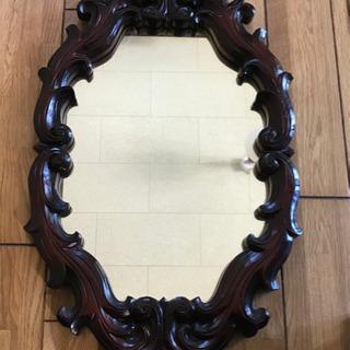 アンテーク鏡、一枚板の木彫り
