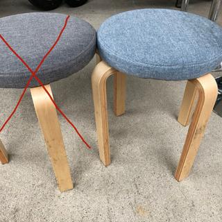 【中古】木製 丸椅子 写真右ブルーのみ