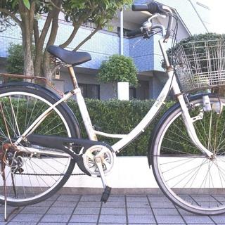 26インチ シティーサイクル 自転車 外装6段ギヤ変速 です。