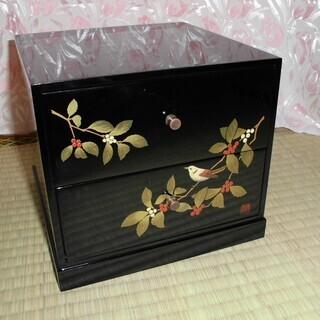 落款あり 漆芸 漆器 黒 2段チェスト 小箪笥 棚 小物入れ