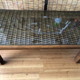 [アンティーク]アジアン風ガラステーブル