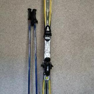 スキー板 ビンディング付き、スティック