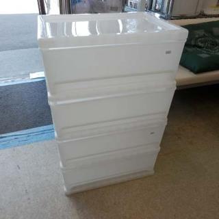 収納ケース 幅54cm 4段 白 半透明 クリア プラ 衣装ケー...